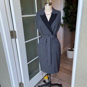CALVIN KLEIN Gray Black Belted Sleeveless Dress 6